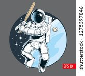 astronaut playing baseball in... | Shutterstock .eps vector #1275397846