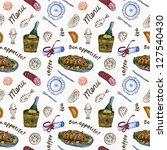 seamless food pattern on white... | Shutterstock . vector #127540430