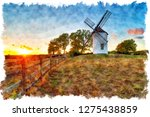 watercolour painting of sunset... | Shutterstock . vector #1275438859