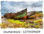 watercolor painting of beached... | Shutterstock . vector #1275439609