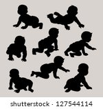 Baby Crawling Silhouettes Set. Very smooth and detail vector. Good use for logo or symbol your company. Easy to edit or change color. | Shutterstock vector #127544114