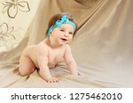 6 months old child standing on... | Shutterstock . vector #1275462010