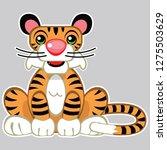 cute fun tiger cub cartoon... | Shutterstock .eps vector #1275503629