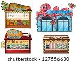 illustration of a fruitstand ... | Shutterstock . vector #127556630