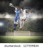 two football players in jump to ...   Shutterstock . vector #127559834