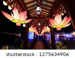 Lotus-shaped lanterns in Chinese ancient architecture