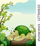 illustration of a turtle lying... | Shutterstock . vector #127564610