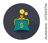 purse icon with coins. flat... | Shutterstock .eps vector #1275653746