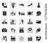 wedding icons set on squares... | Shutterstock .eps vector #1275656506