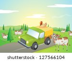 illustration of cows and a... | Shutterstock . vector #127566104