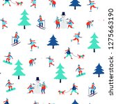 seamless pattern with winter... | Shutterstock .eps vector #1275663190