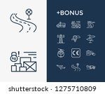cargo icon set and aircraft...