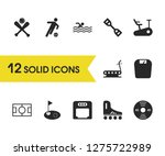 exercise icons set with boxing...