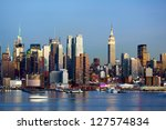 manhattan midtown skyline at... | Shutterstock . vector #127574834