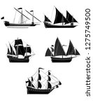 ancient ships. a set of five... | Shutterstock .eps vector #1275749500