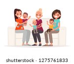 moms are holding babies in... | Shutterstock .eps vector #1275761833
