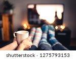 couple drinking tea  hot... | Shutterstock . vector #1275793153