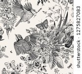 seamless floral pattern. tits ... | Shutterstock .eps vector #1275827083