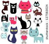 Stock vector set of various cute cats 127583024