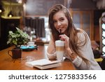 preaty girl with big latte and... | Shutterstock . vector #1275833566