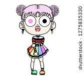 cute cartoon girl   Shutterstock . vector #1275835330