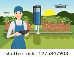 growing plants in the field.... | Shutterstock .eps vector #1275847903