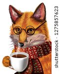 cute cartoon fox with glasses.... | Shutterstock .eps vector #1275857623
