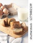glass bowl  milk  eggs  bread...   Shutterstock . vector #1275882139