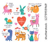 Stock vector valentine s day cute animals set with llama sloth unicorn cats dinosaur bunny tiger and 1275955969