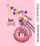 card of a valentine's day. bike ... | Shutterstock .eps vector #1275957013