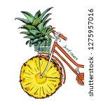 bike with a pineapple wheel.... | Shutterstock .eps vector #1275957016