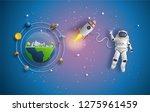 paper art style of astronaut in ... | Shutterstock .eps vector #1275961459