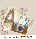 vector background with old... | Shutterstock .eps vector #127596620