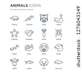 16 linear animals icons such as ... | Shutterstock .eps vector #1276043149