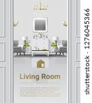luxury living room interior... | Shutterstock .eps vector #1276045366