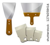 wide putty knife on a white... | Shutterstock .eps vector #1276058416