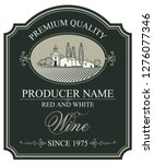 vector wine label with a... | Shutterstock .eps vector #1276077346