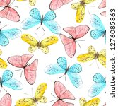 watercolor vector pattern with... | Shutterstock . vector #1276085863