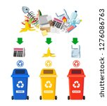 rubbish bins for recycling... | Shutterstock .eps vector #1276086763