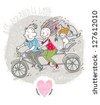 vector valentine card with... | Shutterstock .eps vector #127612010