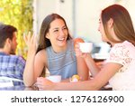 two happy friends talking and... | Shutterstock . vector #1276126900