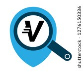 letter v and map pin. logo...