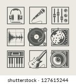 set of music instruments icons...