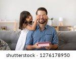 cute kid daughter making... | Shutterstock . vector #1276178950