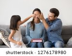 happy child daughter and... | Shutterstock . vector #1276178980