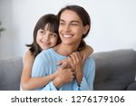 happy family of smiling single... | Shutterstock . vector #1276179106