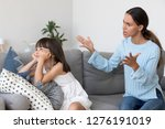 angry annoyed mom shouting... | Shutterstock . vector #1276191019