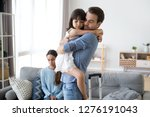 sad little girl upset by father ... | Shutterstock . vector #1276191043