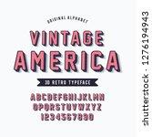 vintage 3d modern alphabet.... | Shutterstock .eps vector #1276194943