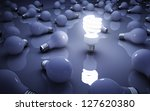 light bulbs on blue background  ... | Shutterstock . vector #127620380